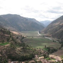 Our first look at the Sacred Valley. It was sacred to the Incas because the fertile soil was the lifeblood of their survival. The large valley is fed by the Urabamba River which flows east to the Amazon.