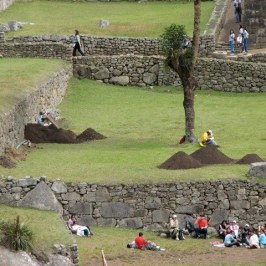 Many people brought a picnic lunch and spent the day. Note the active archeological dig.