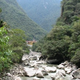 View of the Urabamba River with the town of Aguas Calientes in the background.