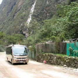 There are a fleet of Mercedes Buses to transport people from Aguas Calientes up to Machu Picchu.