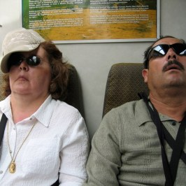 Mimi and Jose show the exhaustion many of us felt after a day of climbing Machu Picchu.