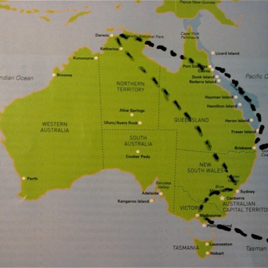 Route map in Australia